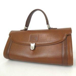 Auth Burberry Satchel Handbag Leather #1327B50